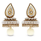 White Stone & White Synthetic Pearl Gold Plated Jhumki Earrings