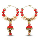 Red Stone & White Synthetic Pearl Gold Plated Jhumki Earrings