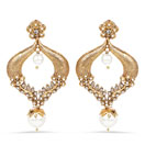 """Yellow Synthetic Pearl, White Stone & White Synthetic Pearl Gold Plated Drop Earrings"""