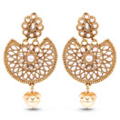 """""""Yellow Synthetic Pearl, White Stone & White Synthetic Pearl Gold Plated Drop Earrings"""""""