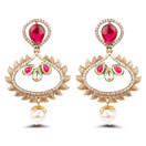 """""""Yellow Synthetic Pearl, White Stone, Cubic Zirconia Polki & Pink Stone Gold Plated Dangle Earrings"""""""