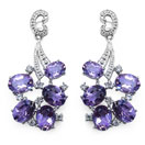 10.80CTW Genuine Amethyst & White Topaz .925 Sterling Silver Earrings