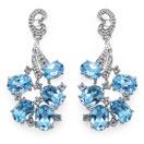 13.95CTW Genuine Blue Topaz & White Topaz .925 Sterling Silver Earrings