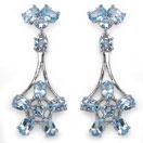 7.00CTW Genuine Aquamarine .925 Sterling Silver Earrings