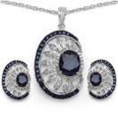28.13CTW Genuine Black Sapphire .925 Sterling Silver Pendant Set