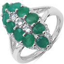 2.60CTW Genuine Emerald & White Topaz .925 Sterling Silver Ring