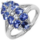 2.46CTW Genuine Tanzanite & White Topaz .925 Sterling Silver Ring