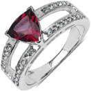 1.56CTW Genuine Rhodolite & White Topaz .925 Sterling Silver Ring