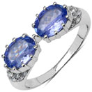 1.65CTW Genuine Tanzanite & White Topaz .925 Sterling Silver Ring