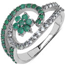 0.72CTW Genuine Emerald & White Topaz .925 Sterling Silver Ring