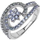 0.76CTW Genuine Tanzanite & White Topaz .925 Sterling Silver Ring