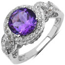 2.53CTW Genuine Amethyst & White Topaz .925 Sterling Silver Solitaire Ring