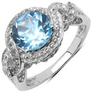 3.26CTW Genuine Blue Topaz & White Topaz .925 Sterling Silver Solitaire Ring