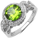2.55CTW Genuine Peridot & White Topaz .925 Sterling Silver Solitaire Ring