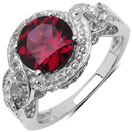 2.89CTW Genuine Rhodolite & White Topaz .925 Sterling Silver Solitaire Ring