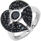1.60CTW Genuine Blue Sapphire & Black Spinel .925 Sterling Silver Heart Shape Ring