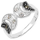 2.00 Grams Marcasite & White Cubic Zircon .925 Sterling Silver Ring