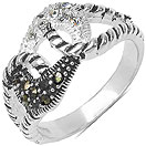 4.20 Grams Marcasite & White Cubic Zircon .925 Sterling Silver Ring