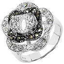 5.30 Grams Marcasite & White Cubic Zircon .925 Sterling Silver Ring