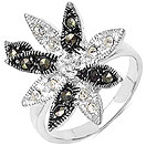 4.10 Grams Marcasite & White Cubic Zircon .925 Sterling Silver Flower Shape Ring