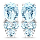 8.60CTW Genuine Blue Topaz .925 Sterling Silver Earrings