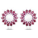 7.04CTW Opal & Rhodolite .925 Sterling Silver Floral Shape Earrings