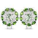 """""""2.86CTW Chrome Diopside, Green Amethyst & White Topaz .925 Sterling Silver Floral Shape Earrings"""""""