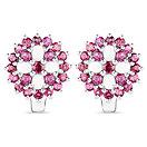 4.42CTW Opal & Rhodolite .925 Sterling Silver Floral Shape Earrings
