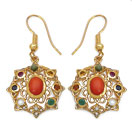 2.14CTW Navratna 14K Yellow Gold Plated Brass Earrings