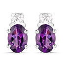 1.68CTW Amethyst & White Cubic Zirconia .925 Sterling Silver Oval Shape Earrings