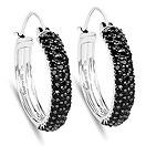 4.08CTW Genuine Black Spinel .925 Sterling Silver Hoops Earrings