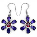 2.00CTW Genuine Rhodolite .925 Sterling Silver Blue Enamel Earrings