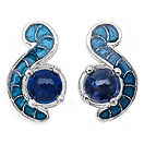 2.76CTW Genuine Kyanite .925 Sterling Silver Blue Enamel Earrings