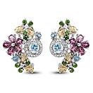 4.70CTW Genuine Multi Gemstone .925 Sterling Silver Earrings
