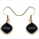 10.68CTW Genuine Black Onyx 14K Yellow Gold Plated .925 Sterling Silver Earrings