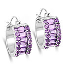 5.56CTW Genuine Amethyst .925 Sterling Silver Huggies Earrings