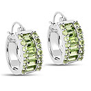 4.96CTW Genuine Peridot .925 Sterling Silver Huggies Earrings