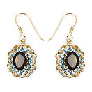 """6.20CTW Genuine Smoky Topaz, Blue Topaz & White Topaz 14K Yellow Gold Plated .925 Sterling Silver Earrings"""