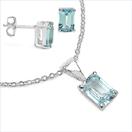 3.60CTW Genuine Blue Topaz .925 Sterling Silver Set Jewellery