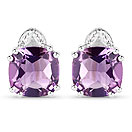 6.22CTW Amethyst & White Diamond .925 Sterling Silver Cushion Shape Earrings