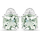 7.02CTW Green Amethyst & White Diamond .925 Sterling Silver Cushion Shape Earrings