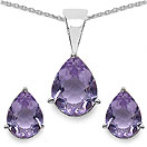 5.46CTW Genuine Amethyst Shape .925 Sterling Silver Pear Shape Pendant Set
