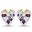 3.13CTW Genuine Multi Gemstone .925 Sterling Silver Tops Earrings