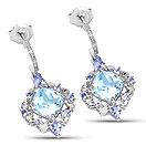 5.58CTW Genuine Blue Topaz & Tanzanite .925 Sterling Silver Dangle Earrings