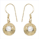 1.28CTW Genuine Pearl .925 Sterling Silver Gold Plating Earrings