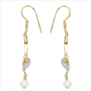 1.36CTW Genuine Pearl & White Cubic Zircon .925 Sterling Silver Gold Plating Earrings