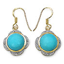 9.28CTW Genuine Turquoise & White Topaz 14K Yellow Gold Plated .925 Sterling Silver Earrings