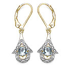 0.90CTW Genuine Aquamarine 14K Yellow Gold Plated .925 Sterling Silver Earrings