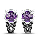 """3.61CTW Genuine Amethyst, Black Diamond & White Diamond .925 Sterling Silver Tops Earrings"""