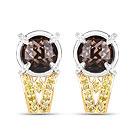 """3.75CTW Genuine Smoky Quartz, Yellow Diamond & White Diamond .925 Sterling Silver Tops Earrings"""